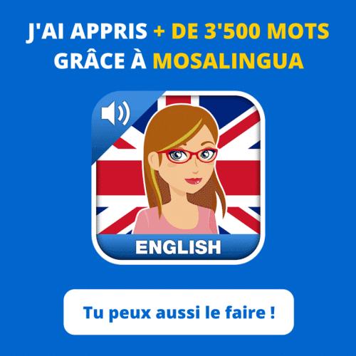 avis sur l'application mosalingua pour apprendre l'anglais