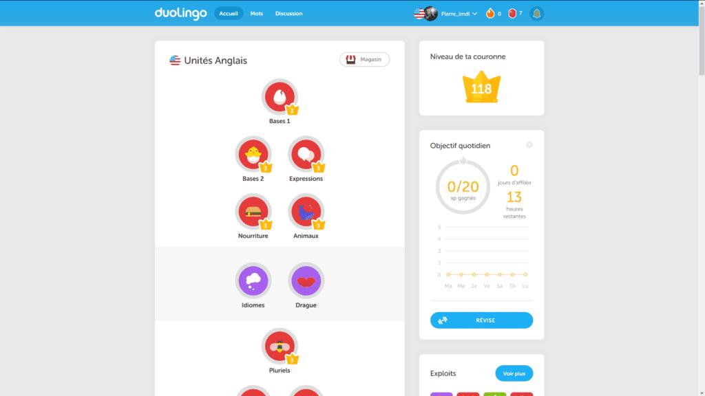 Duolingo : arbre de compétences