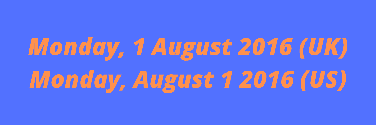 les dates anglais britannique et américain