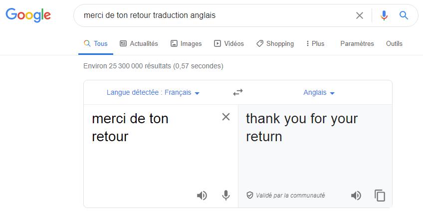 Traduction français-anglais sur Google Traduction