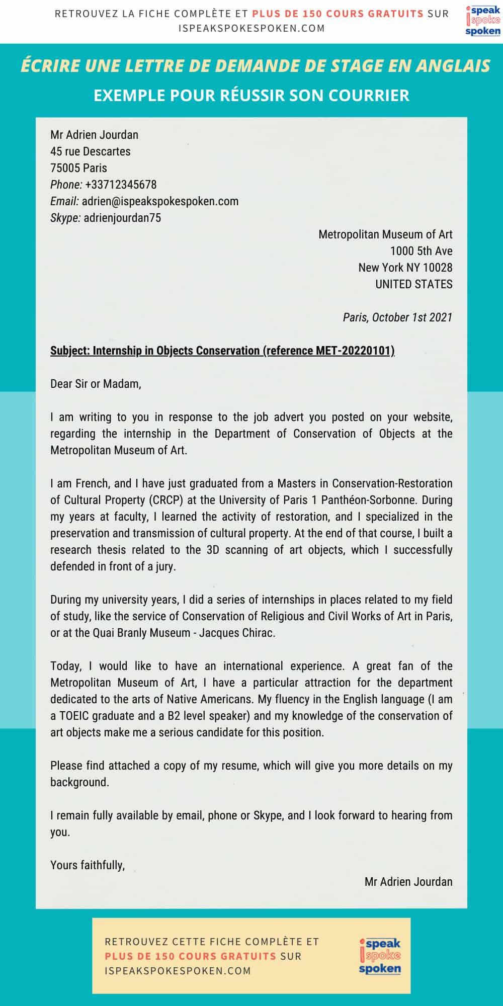 Exemple d'une lettre de demande de stage en anglais