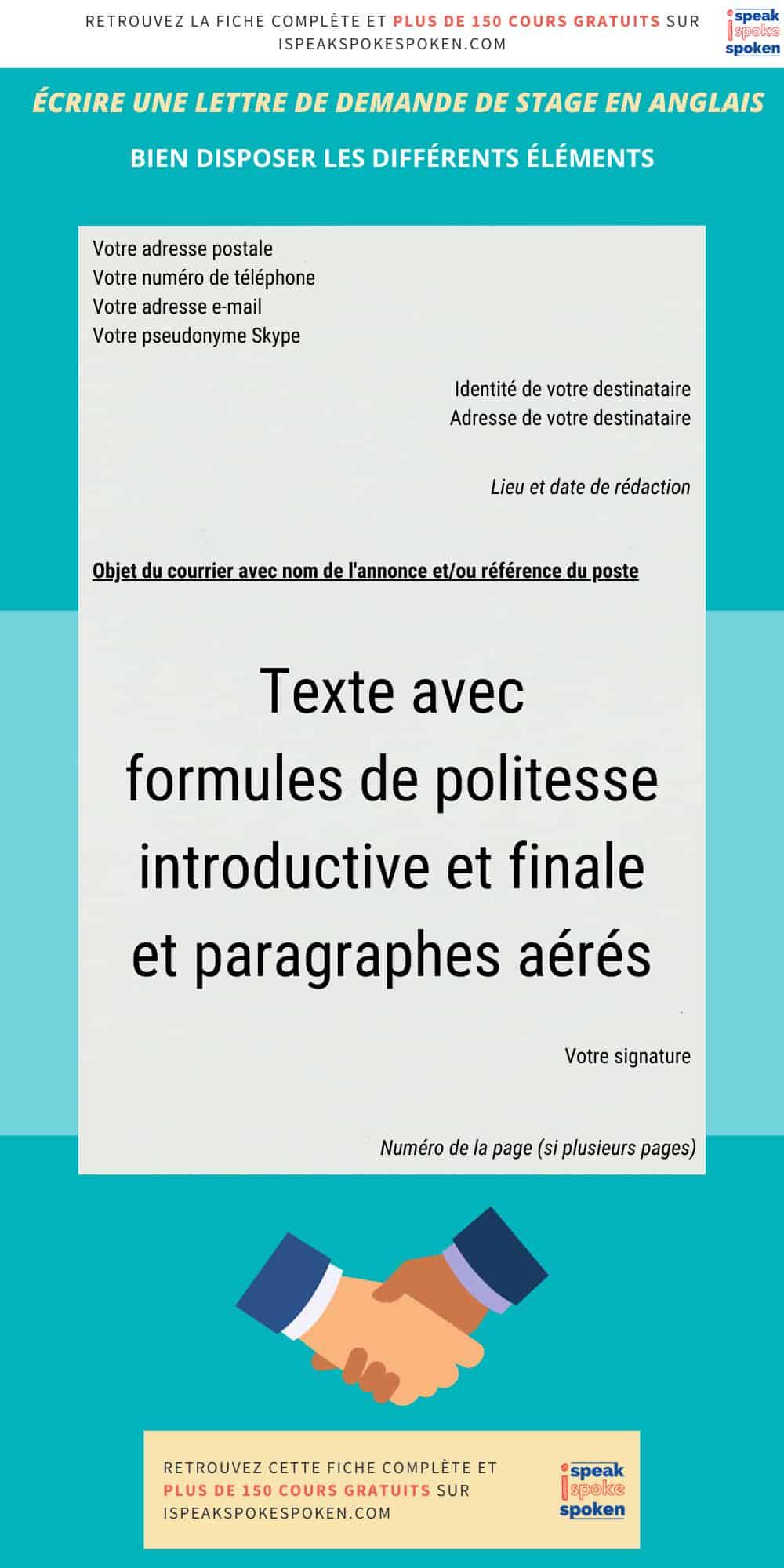 organisation d'une lettre de stage en anglais
