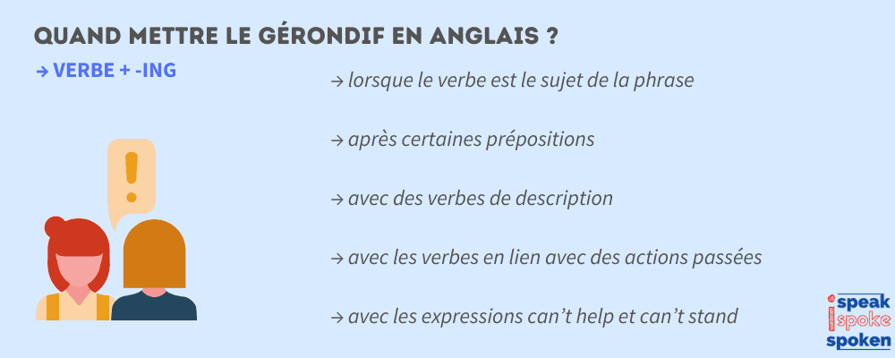 quand mettre -ing en anglais ?