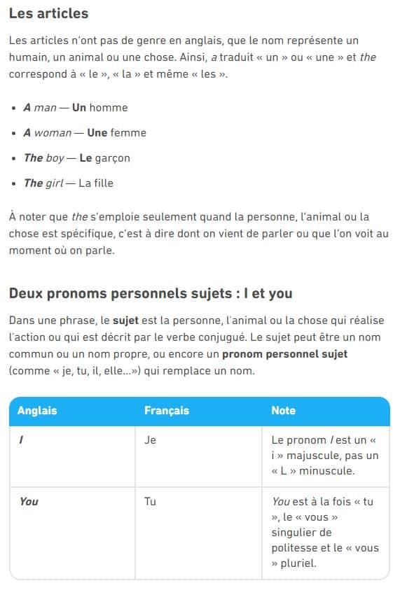 Exemple de leçon d'anglais sur Duolingo : les articles.
