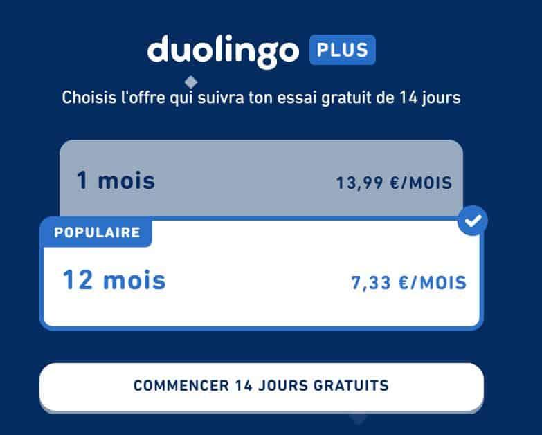 duolingo plus : les prix de l'abonnement